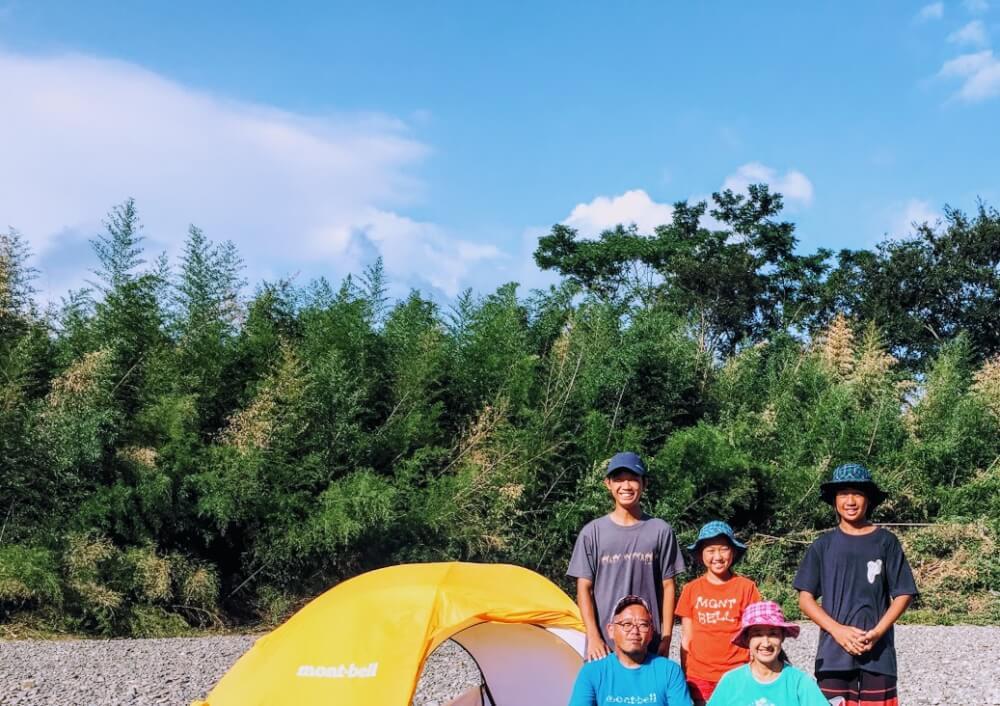四万十川カヌーキャンプ最終回 家族テント。